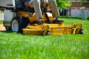 using lawn mower